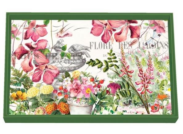 Tablett Lack Decoupage MICHEL DESIGN WORKS klein IN THE GARDEN Blumen Frühling La Cassetta