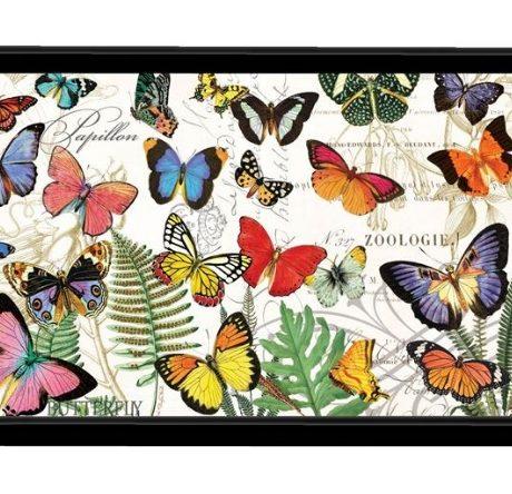 Tablett Lack Decoupage MICHEL DESIGN WORKS klein PAPILLON Schmetterlinge La Cassetta