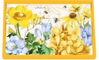 Tablett Lack Decoupage MICHEL DESIGN WORKS klein TRANQUILITY Blumen Frühling La Cassetta