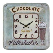 Wanduhr Metall quadratisch SQ CHOCOLATE Milkshakes Roger Lascelles La Cassetta