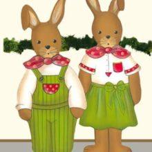 Holzdeko Aufsteller Hasenpaar rot grün mittel Osterdeko Landart La Cassetta