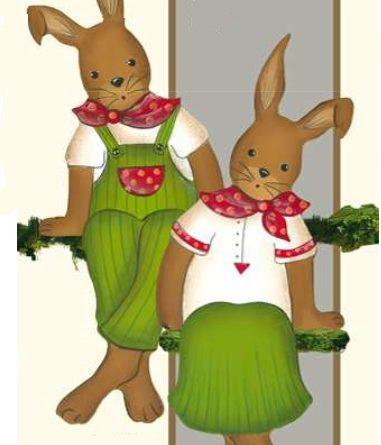 Holzdeko Hasenpaar Kantenhocker grün rot Osterhase sitzend Landart La Cassetta
