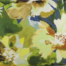 Meterstoff STEEN DESIGN Alma gelb Blüten Blumen Aquarell gelb grün blau La Cassetta