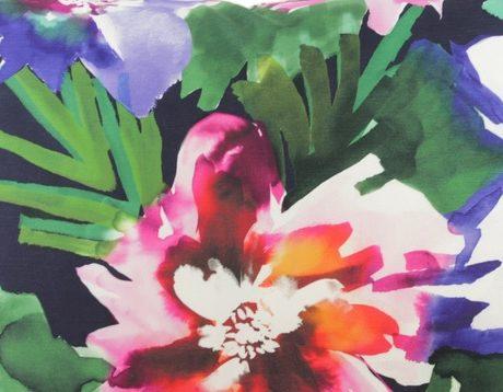 Meterstoff STEEN DESIGN Alma pink Blüten Blumen Aquarell rosa grün schwarz La Cassetta