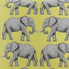 Meterstoff STEEN DESIGN DUMBO gelb Stoff Elefanten Kolonialstil La Cassetta
