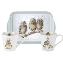 Royal Worcester WRENDALE Mug & Tray Set Hase Küken Eulen La Cassetta
