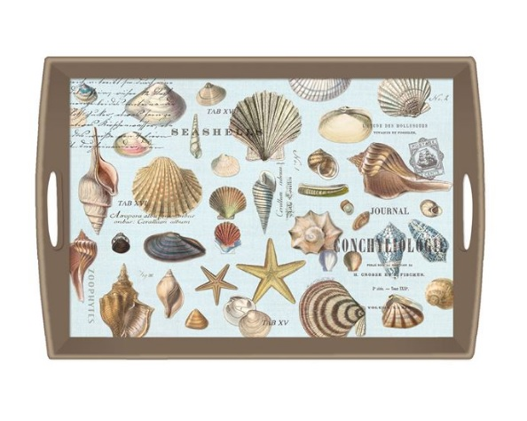 Tablett MICHEL DESIGN WORKS gross SEASHELLS maritim Muscheln Lack Decoupage La Cassetta