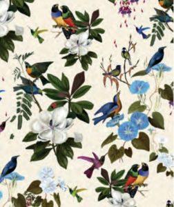 THEVENON Stoff La Cassetta IL ETAIT UNE FOIS fond creme 1 Vögel Blumen Blätter
