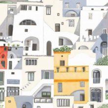 THEVENON Stoff La Cassetta POSITANO Häuserfront mediterran Sommer bunt