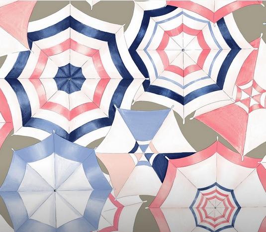 THEVENON Stoff La Cassetta SINGING IN THE RAIN blau lila rosé Regen Sonnen Schirme