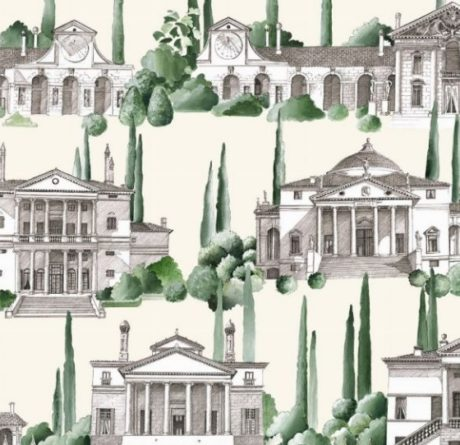 THEVENON Stoff La Cassetta VISCONTI mediterran Häuser vert fond creme 1
