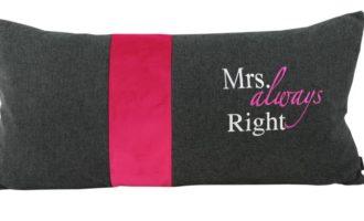 Kissenhülle 35x70cm MILO antrazit Stick Mrs. always right Samt pink Steen Design La Cassetta