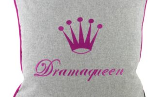Kissenhülle 50x50cm MILO hellgrau Stick Krone Dramaqueen pink Steen Design La Cassetta