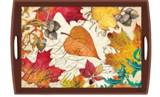 Tablett Lack Decoupage MICHEL DESIGN WORKS gross Herbst Blätter Eicheln FALL SYMPHONY La Cassetta
