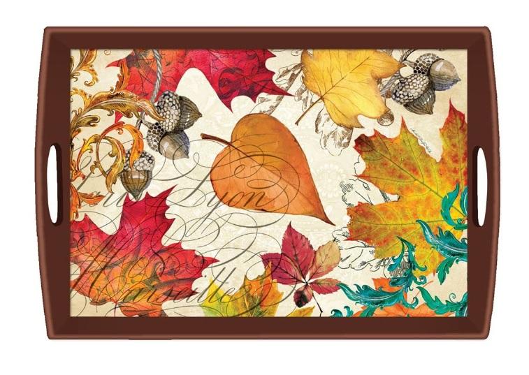 Tablett Lack Decoupage MICHEL DESIGN WORKS gross Herbst Blätter Eicheln FALL SYMPHONY La Cassetta