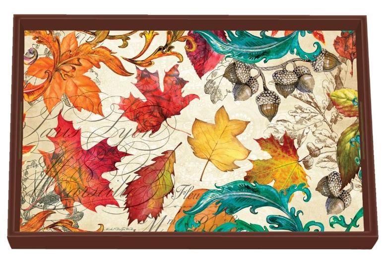 Tablett Lack Decoupage MICHEL DESIGN WORKS klein Herbst Blätter Eicheln FALL SYMPHONY La Cassetta