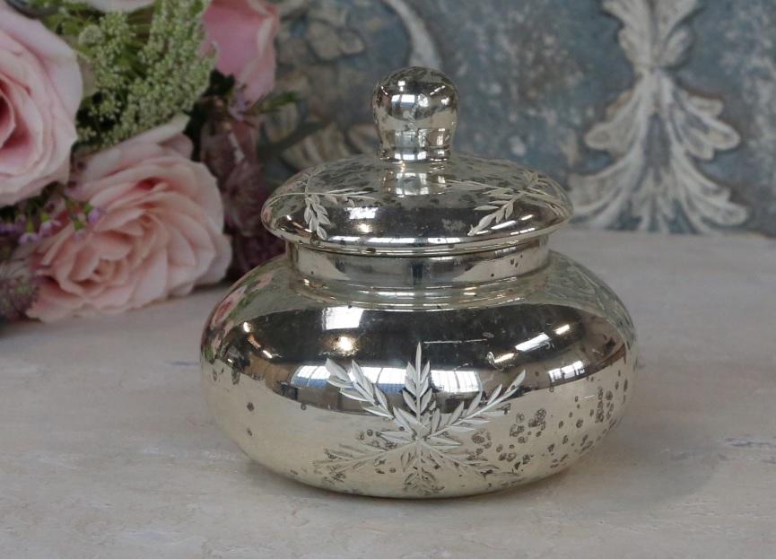 Bauernsilber Dose Box mit Schliff Kristall silber antik Chic Antique La Cassetta 2