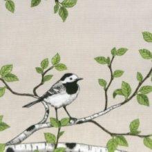 Ili Stoff SPRING BIRD linen Vögel Äste Blätter leinen by La Cassetta