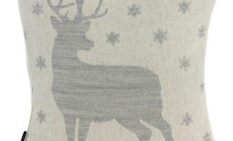 Kissenhülle 35x35cm JOSCHI mit Biese creme Hirsch STEEN DESIGN Weihnachts Kissen La Cassetta