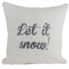Kissenhülle 45x45cm ANDREA creme mit Stick LET IT SNOW m. Biese grau Steen Design La Cassetta