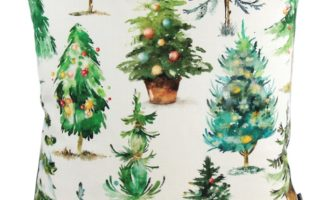 Kissenhülle 45x45cm KLAUSI mit Biese grün STEEN DESIGN Tannenbäume Weihnachten La Cassetta