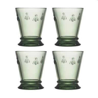 La Rochere ABEILLE gobelet VERT Biene Becher Gläser 4 er Set grün La Cassetta
