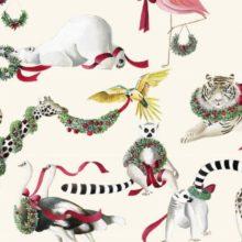 Meterstoff LA JUNGLE DE NOEL Thevenon Weihnachten Tiere Zoo La Cassetta
