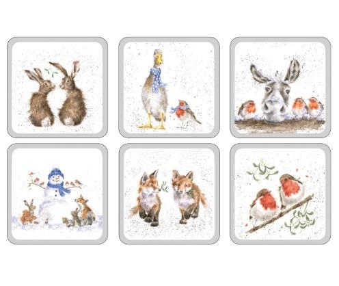 Wrendale Weihnachtskarte mit Gans und Rotkehlchen