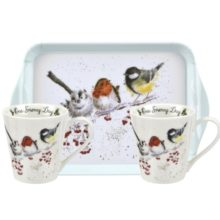 Royal Worcester WRENDALE Mug & Tray Set One snowy day Christmas La Cassetta