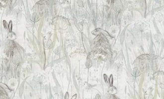 Meterstoff DUNE HARES mist pebble SANDERSON UK Feldhase Hase La Cassetta 1