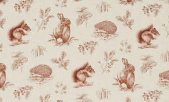 Meterstoff Woodland Walk SANDERSON UK SQUIRRIL and HEDGEHOG henna wheat 1 La Cassetta