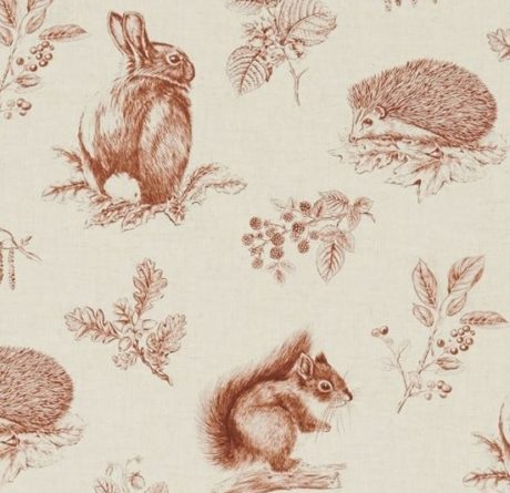 Meterstoff Woodland Walk SANDERSON UK SQUIRRIL and HEDGEHOG henna wheat 2 La Cassetta