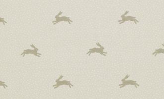 Meterstoff springender Hase WARREN flint Punkte Tupfen creme beige SANDERSON UK 1 La Cassetta