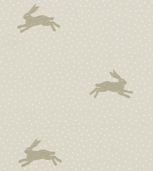 Meterstoff springender Hase WARREN flint Punkte Tupfen creme beige SANDERSON UK 2 La Cassetta