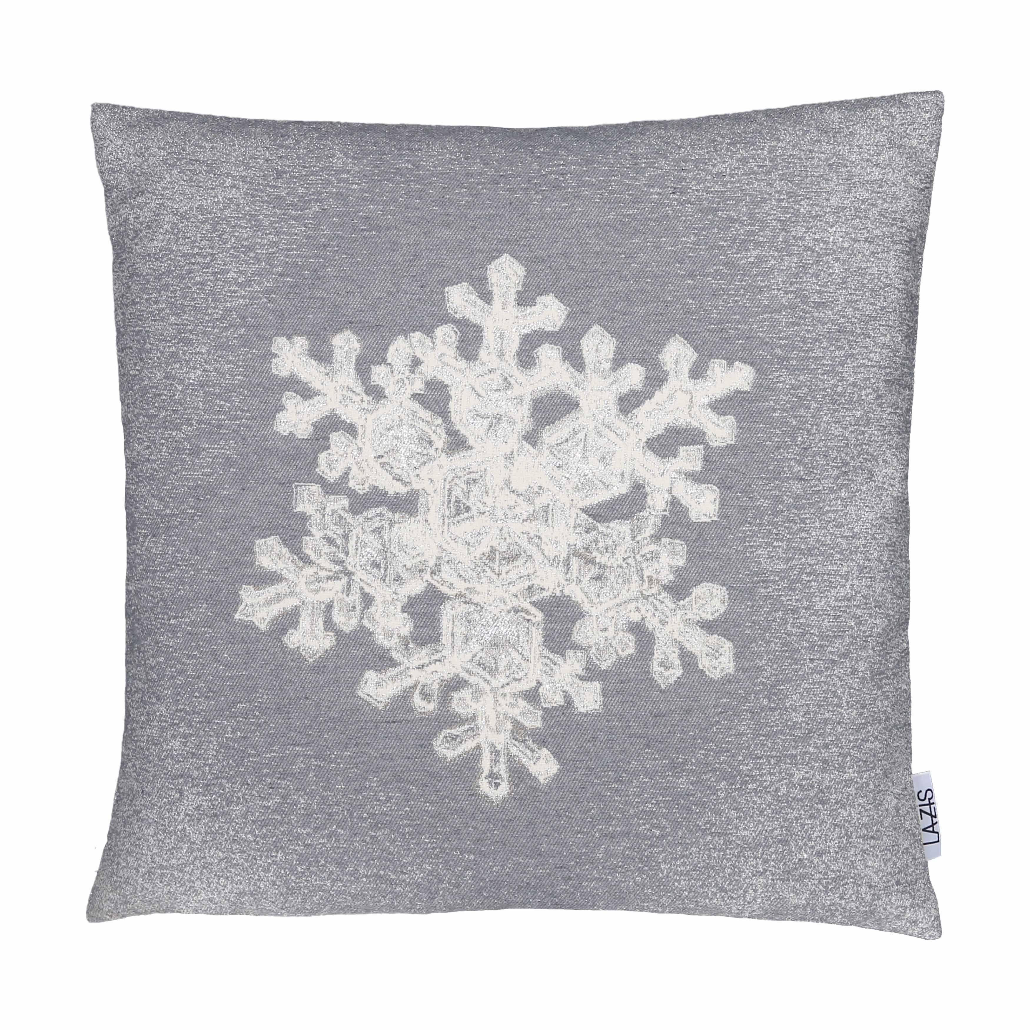 Kissenhülle EISKRISTALL silber grau Winter Weihnachten Glitzer LAZIS La Cassetta