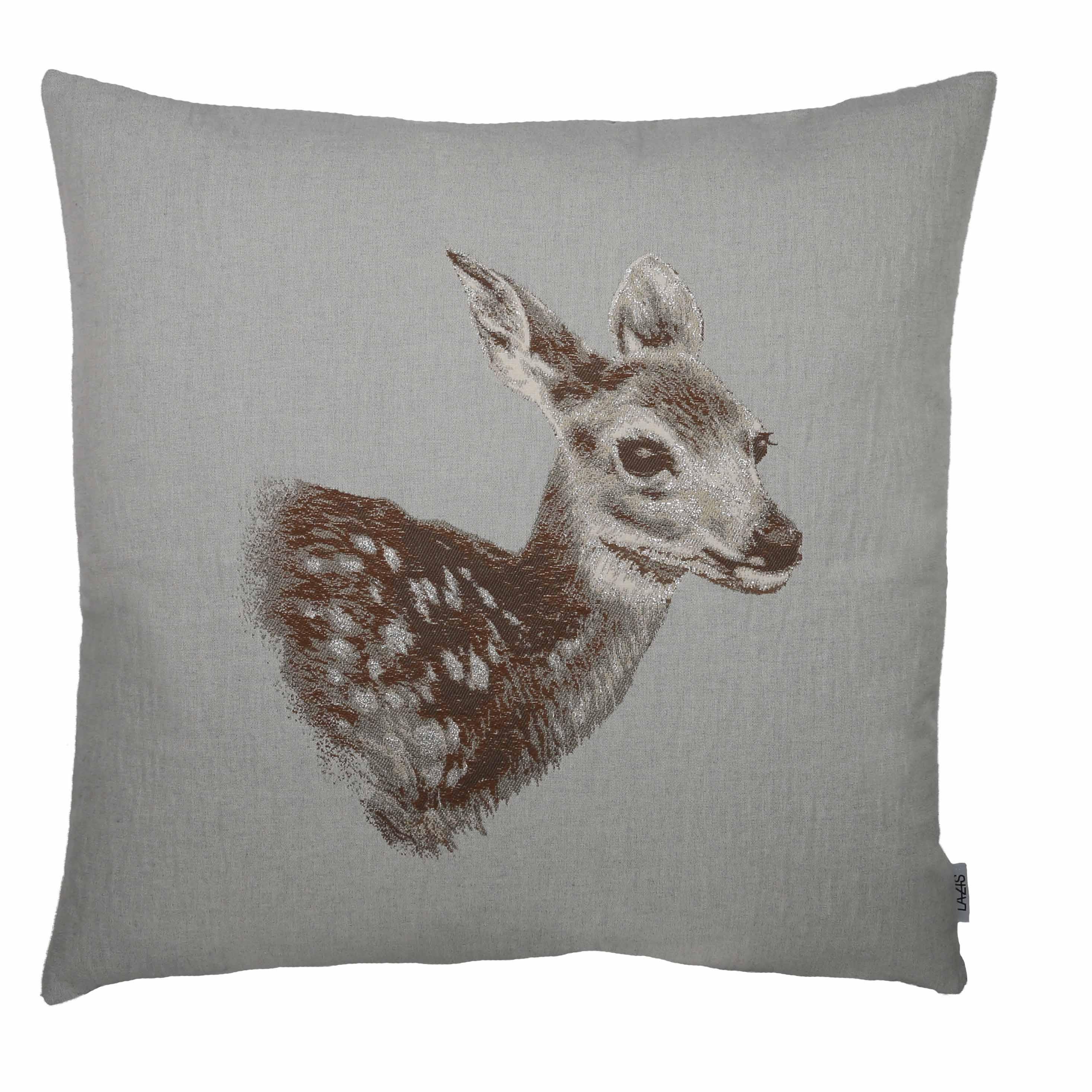 Kissenhülle Bambi braun 50x50cm Reh Winter Weihnachten LAZIS La Cassetta