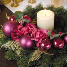 Dekokranz Tanne Kugeln Rosen LILA BEERE Weihnachten La Cassetta Online Shop
