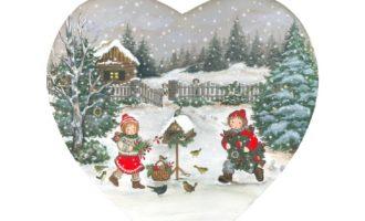 Holz Schild Herz GROSS Winter Weihnachten Kinderpaar Vögel Landhaus Deko La Cassetta Wien