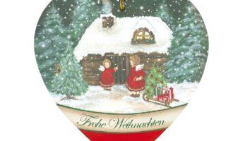 Holz Schild Herz Winter Weihnachten Engelpaar vor Haus mit Schlitten Frohe Weihnachten Landhausdeko La Cassetta Wien