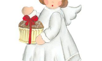 Holzdeko Aufsteller Backengel Mädchen mit Pancake Kuchen weiß silber Landhaus Deko La Cassetta Wien