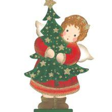 Holzdeko Aufsteller Engel rot mit Tannenbaum rot gold Landhaus Deko Weihnachten La Cassetta Wien