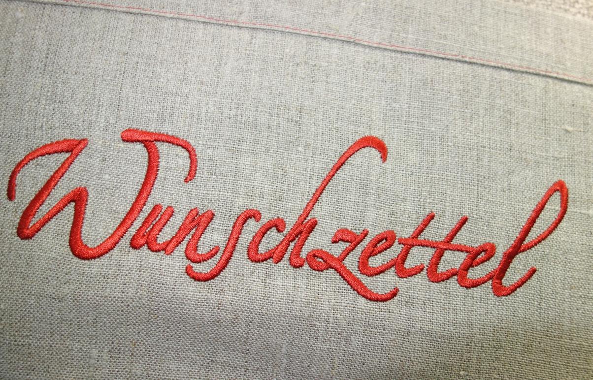 Kissenhülle 40x60cm BRUCE mit Leinen Stick WUNSCHZETTEL Steen Design La Cassetta Weihnachtsdeko Wien