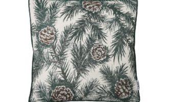 Kissenhülle 45x45cm mit Keder grün PINIEN Lazis Zapfen Tannen Winter Weihnachten La Cassetta