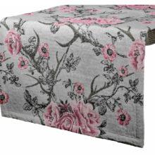 Tischwäsche TIROL Herbst Winter rosa grau Rosen Abwurfstangen LAZIS La Cassetta