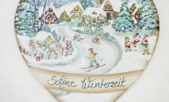 Dekoschild Holz Herz SCHÖNE WINTERZEIT Land Art Kunsthandwerk La Cassetta Wien
