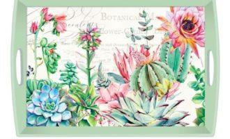 Tablett Michel Design Works groß PINK CACTUS Kaktus Sukkulenten mint La Cassetta Wien