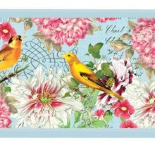 Tablett Michel Design Works klein GARDEN MELODY Blumen Vögel hellblau pink gelb La Cassetta Wien