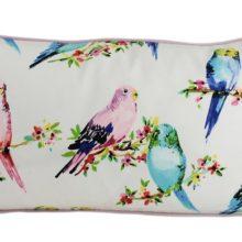 Kissenhülle 30x60cm BIRDY weiß mit RS und Keder DOVE rose STEEN DESIGN Sittiche Vögelchen La Cassetta