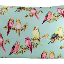 Kissenhülle 50x70cm BIRDY bleu STEEN DESIGN Sittiche Vögelchen Kissen La Cassetta Online Shop