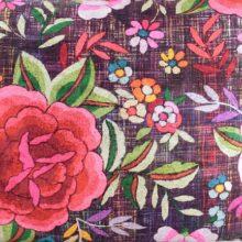 Meterstoff MARUSHA lila Steen Design Blumen Retro La Cassetta